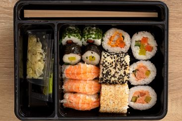 The sushi set was ordered from the restaurant