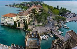 View at town Sirmione from Scaligero Castle in Italy