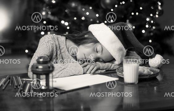monochrome portrait of cute girl fell asleep while...