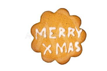 Gingerbread biscuit Merry Xmas isolated