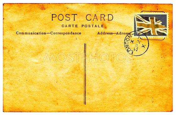 Genuiine vintage postkort med stempling og falmede og farvede faux Unionens flag stempel