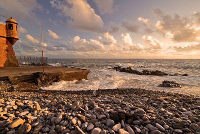 Seaside at sunset.