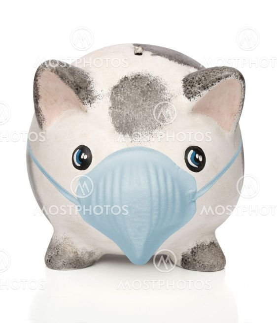 Piggy bank with a surgical mask
