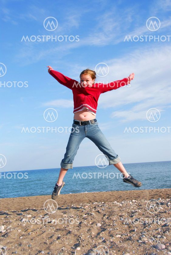 Girl child jumping