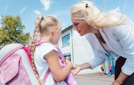 First day in school for little girl