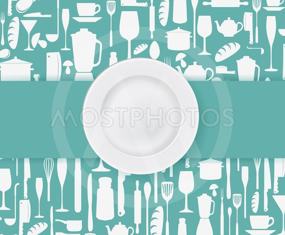 Restaurant menu design with plate
