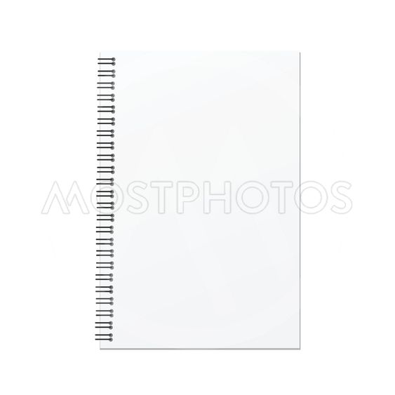 Vector open blank notebook template on white background.