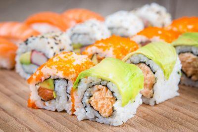 Variation of  tasty sushi rolls