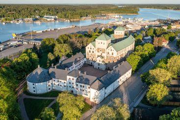 Aerial view of Turku Castle in summer in Turku, Finland