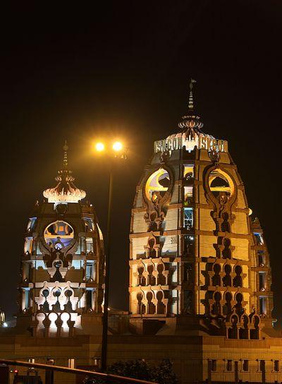 ISCKON Temple at night, New Delhi