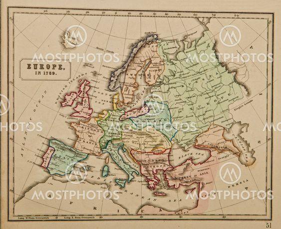 Karta Varlden Europa.Europa 1789 Antika Karta O Av Mikhail Kusayev Mostphotos