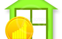 Green house and golden coin