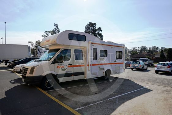 A campervan travel on the road in Sydney, Australia