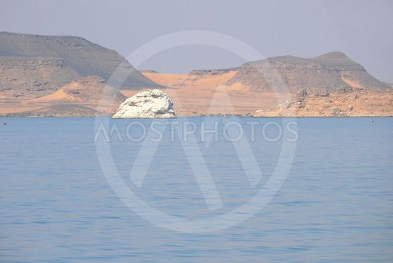 Lake Nasser with a desert shore.