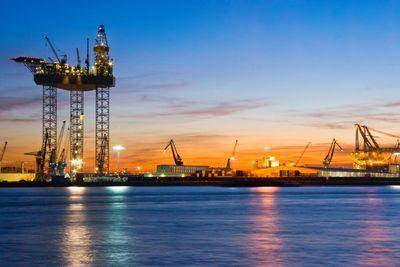 Big drilling platform in dock