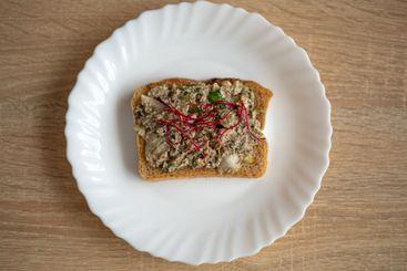 Healthy, tasty sandwich with dark bread