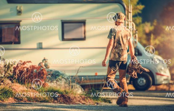 Men Going To Rest in His Camper Van