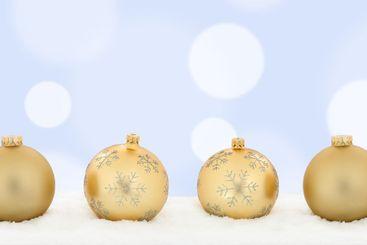 Christmas golden balls banner decoration background...