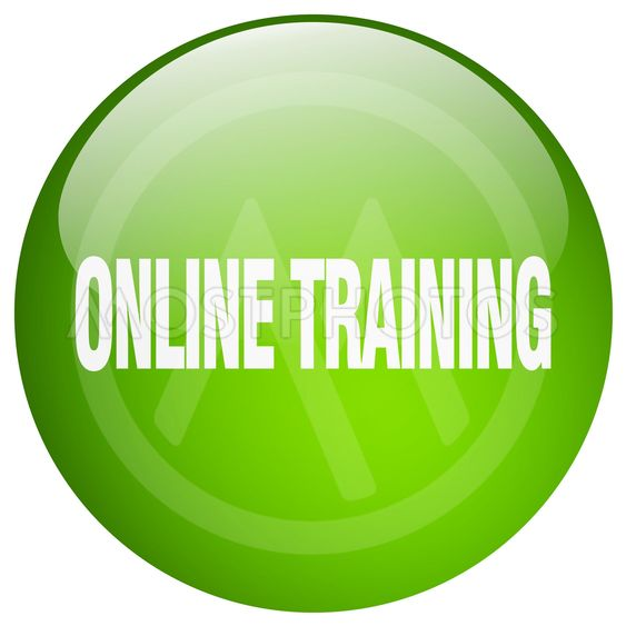 online training green round gel isolated push button