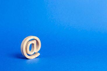 Email icon on blue background. internet correspondence....