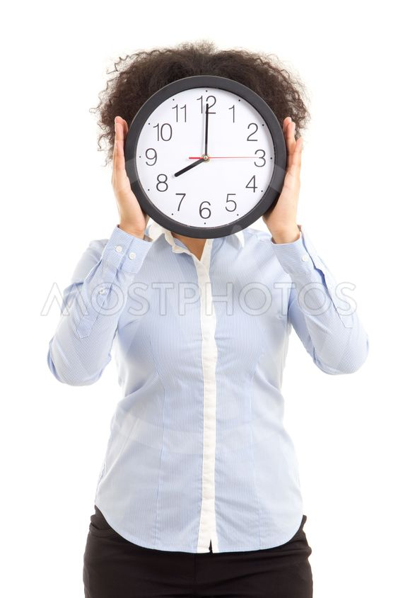 woman covering face with office clock isolated on white