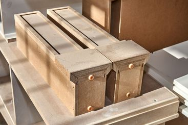 MDF table legs. Joinery. Wooden furniture manufacturing...