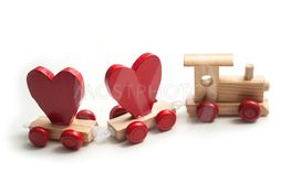 wooden train toy on white background - love...