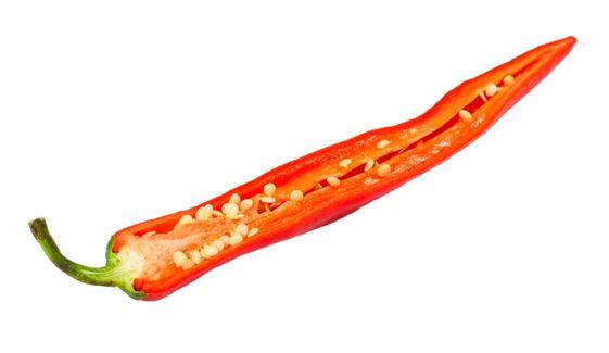 Red chili peppers med utsäde