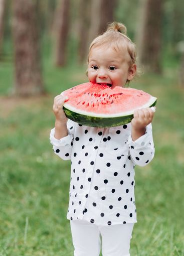 cute little girl eating big piece of watermelon on the...