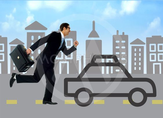 Businessman running behind silhouette car