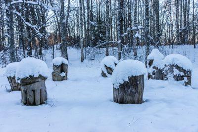 Träskulpturer i snö
