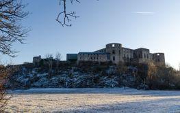 Vy från Slottsskogen mot slottsruinen i Borgholm på Öland