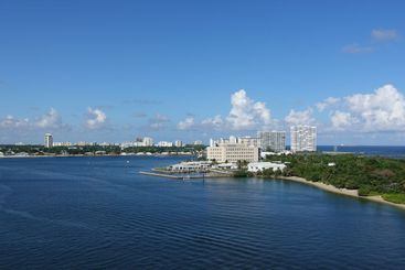 The view from a cruise ship of Port Everglades, in Ft....