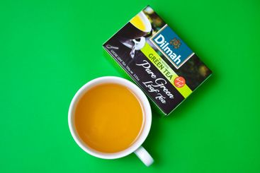 A cup of Dilmah green leaf tea