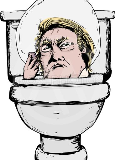 Serious Donald Trump in Toilet with Phone