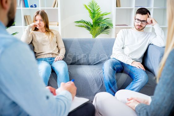 Couple having a quarrel on a therapy