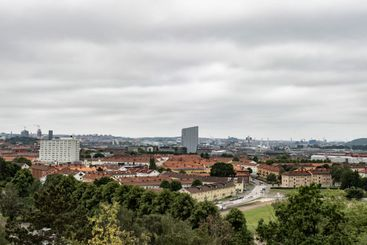 Elevated panorama view of the city of Gothenburg.