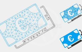Euro Banknotes Vector Mesh Carcass Model and Triangle...