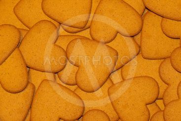 Gingerbread biscuit background hearts