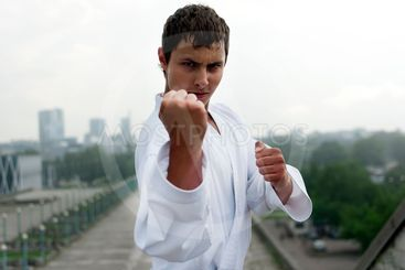 karate poses against the backdrop of the city