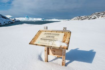 Extreme danger warning sign for sudden tsunami waves...
