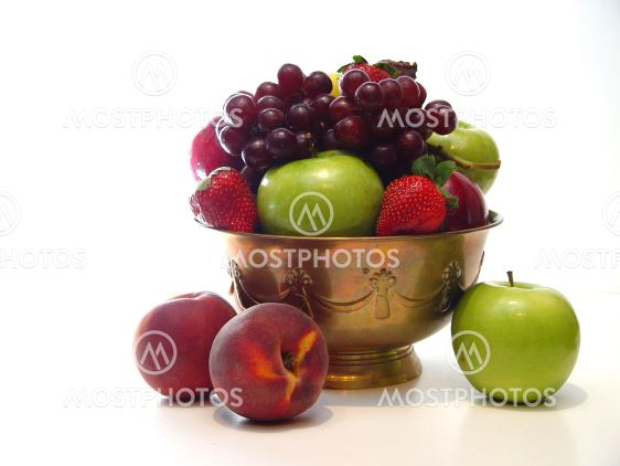 Bowl of Fruit on White