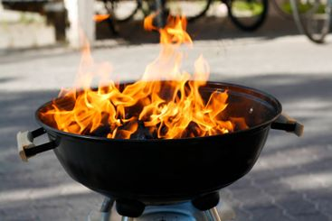 burning barbeque