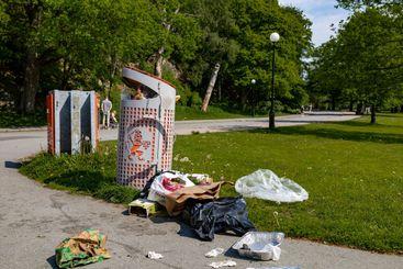 Litter bin overflowing with trash.