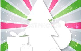 Merry Christmas paper tree design greeting card
