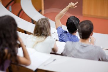 Young student raising his hand while his classmates are...