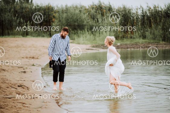 Beautiful just married have fun and rejoice on the...