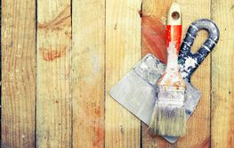 Trowel and paint brush