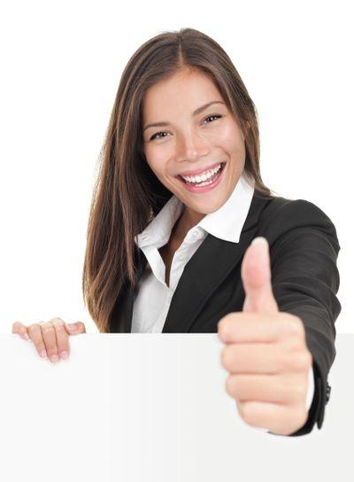 Businesswoman holding billboard sign