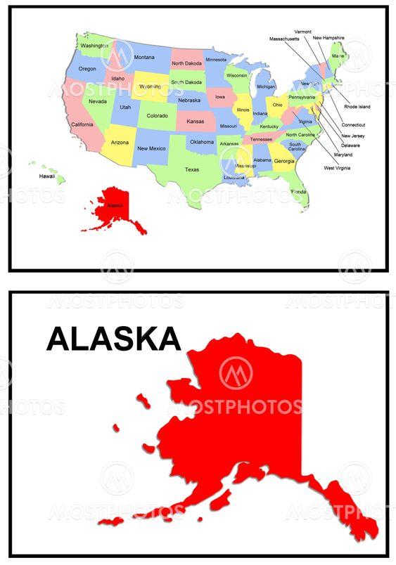 Usa State Map Alaska By Mrr Photography Mostphotos